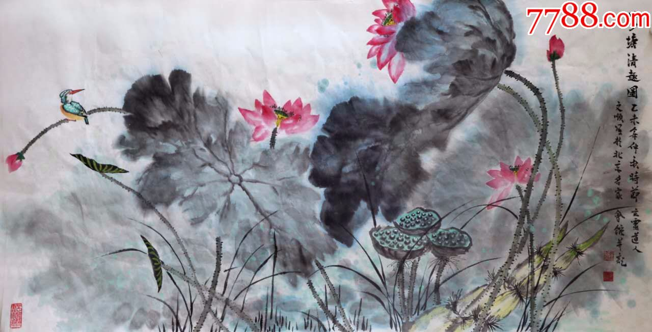 著名画家刘文顺国画写意荷花图--荷塘情趣图