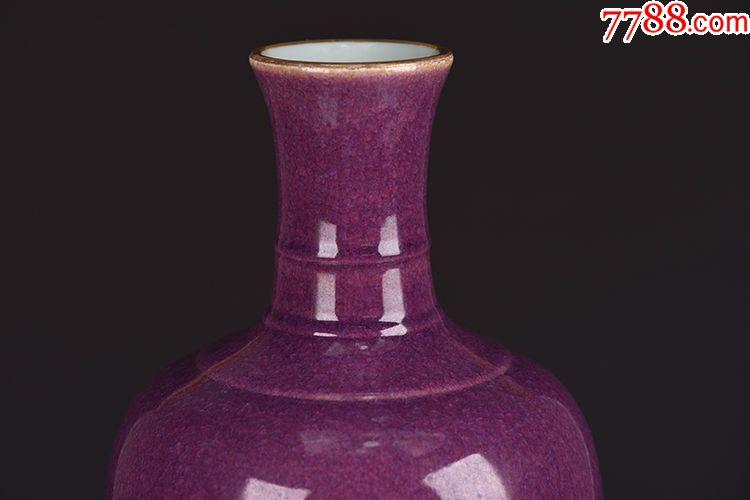 清代雍正玫瑰紫胭脂红本色金柳叶瓶