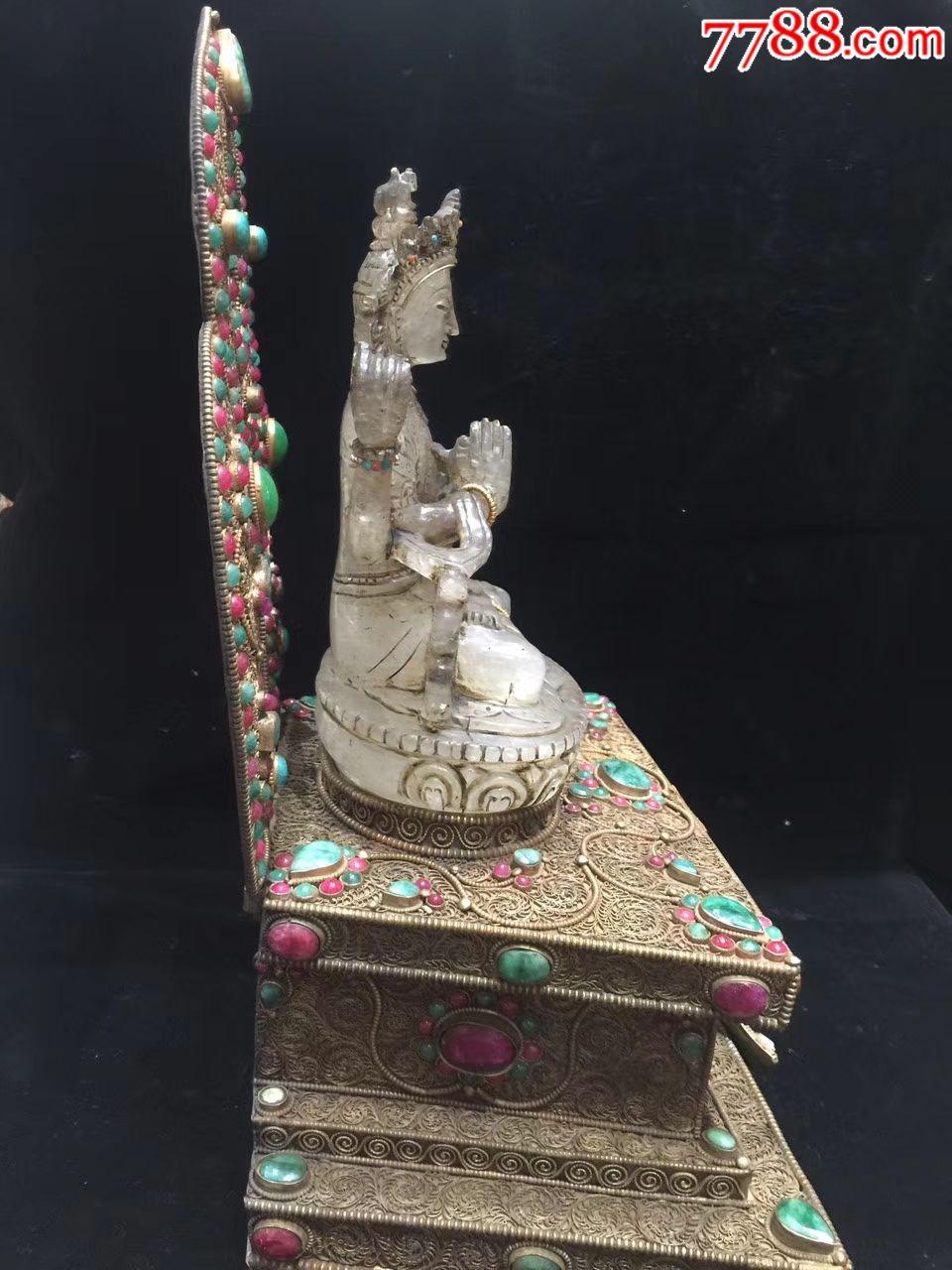 藏银手工掐丝镶嵌宝石四臂观音佛台佛像◆天然白水晶手工雕刻四