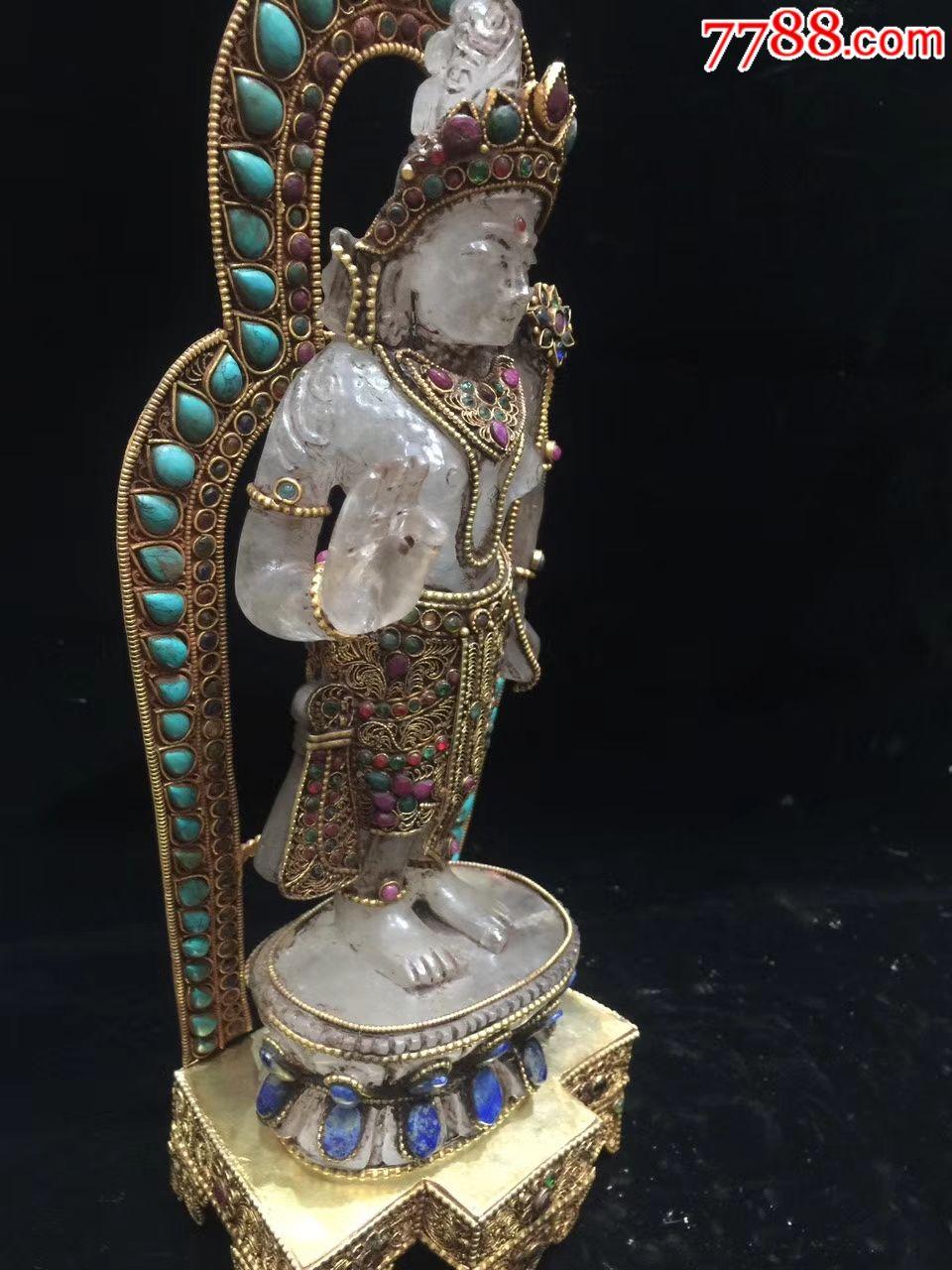 藏银手工掐丝镶嵌宝石度母佛台佛像◆天然白水晶手工雕刻四