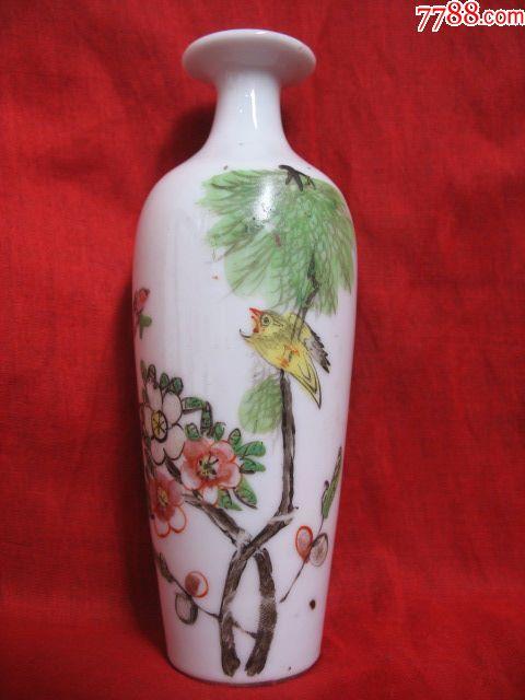 全品包老民国瓷器粉彩手绘柳树黄莺文房小花瓶柳叶瓶图片