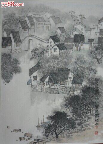 最具收藏價值的著名畫家鄭守國畫豎幅建筑風景夢里水鄉風景畫