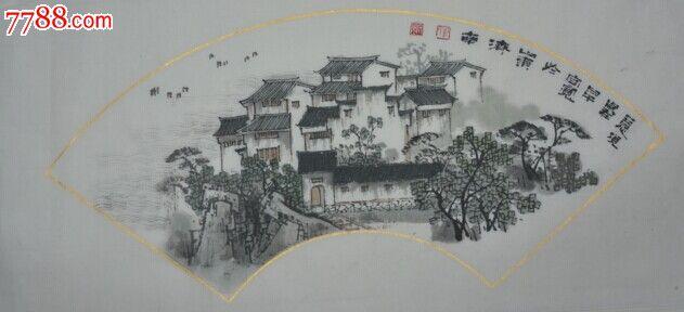 最具收藏价值的著名画家郑守扇面国画建筑风景画