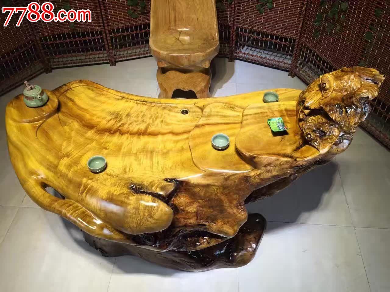 极品楠木根雕茶几面板